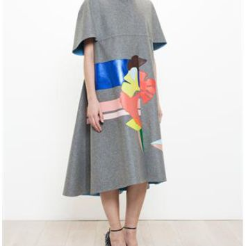 DELPOZO | Wool Coat with Leather Inserts | brownsfashion.com | The Finest Edit of Luxury Fashion | Clothes, Shoes, Bags and Accessories for Men & Women