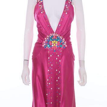 JENNY PACKHAM Hand Beaded and Gems Pink Silk Halter Dress Size 10
