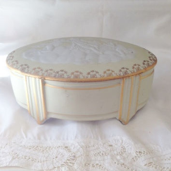 Art Deco Tharaud Limoges Cherubs on Cloud Relief, Pale Green, Gilt Trim, Dressing Table Box, Trinket Box, Jewelry Box