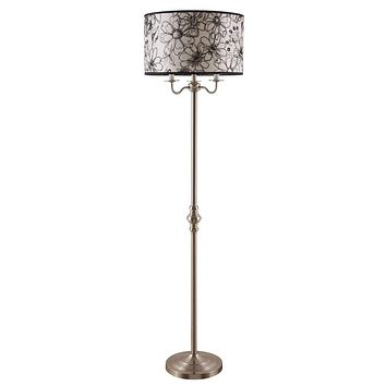 Metal Base Floor Lamp With Floral Pencil Sketch Shade  - Copper
