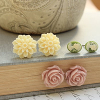 Flower Stud Earrings Floral Jewellery Post Light Yellow Cream Dahlia Dusty Rose Pink Cabochon Stud Tiny Green Cameo Shaby Chic Three pairs