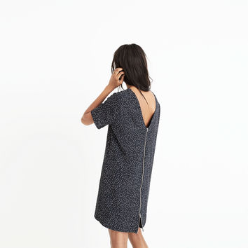 Zip-Back Dress in Dot Scatter