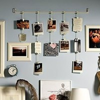 Hanging Photo Organizer Rail With Chains and 32 Clips White