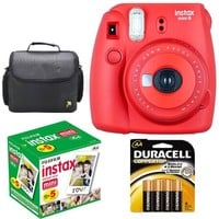 Fujifilm Instax Mini 8 Instant Film Camera (Yellow) With Fujifilm Instax Mini 5 Pack Instant Film (50 Shots) + Compact Bag Case + Batteries Top Kit - International Version (No Warranty)