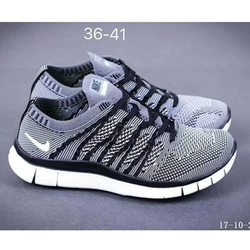 Nike NIKE FREE FLYKNIT NSW barefoot line running shoes high quality perfect new goods F-SSRS-CJZX Grey