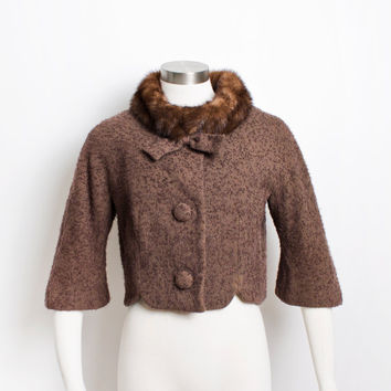 Vintage LILLI ANN Jacket - 50s Wool / Mink Fur Cropped 1950s - Small