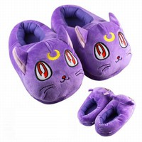 Sailor Moon Luna Cat Plush Purple Slippers