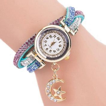 Women's Fashion Moon Pendant Rhinestones Bracelet Quartz creative watch
