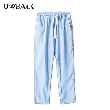 Uwback Summer Casual Pants Men Breathable Loose Linen Trousers 2017 Fashion Solid Drawstring Male Pants Plus Size 5XL DBA047