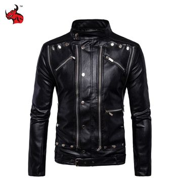 New Retro Vintage Motorcycle Jackets PU Leather Moto Jackets Men Multi Zippers Rivets Punk Biker Leather Stand Collar