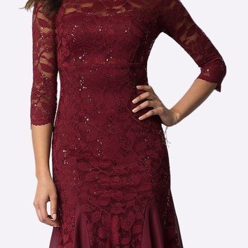 Burgundy Mid-Sleeved Lace Wedding Guest Dress Tea-Length