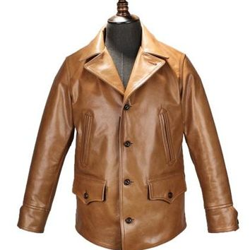 Free .EMS Brand new cow leather clothing,man's 100% genuine leather Jackets,classic men's slim japan style jacket
