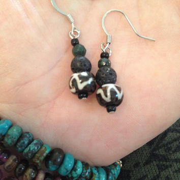 Aromatherapy Essential Oil Diffusing Earrings with Bone OM Bead and Lava Stones