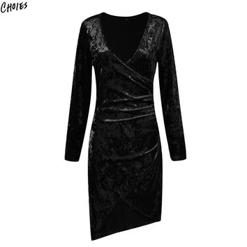Black Asymmetric Hem Long Sleeve Mini Velvet Dress Women Ruched Plunge Deep V Neck Slim Body Con Fall Winter Basic Dresses