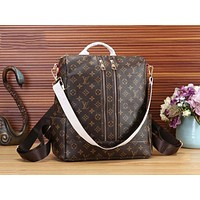 LV Louis Vuitton Popular Women Men Monogram Leather Travel Bookbag Shoulder Bag Double Zipper Backpack Coffee LV Print I-WMXB-PFSH