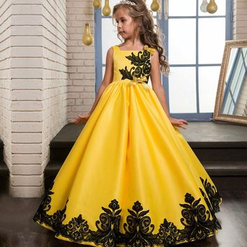 Princess Flower Girl Dress Emboridey Summer 2017 Tutu Ball Gown Wedding Birthday Party Prom Dress For Girls Children's Costume