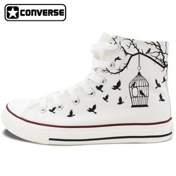 White Converse All Star Hand Painted Canvas Shoes Women Men Design Bird Cage Sneakers