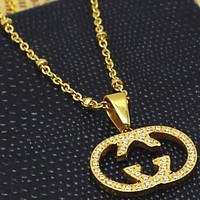 GUCCI Double G Hollow Diamond Rose Gold Necklace Clavicle Chain Gold