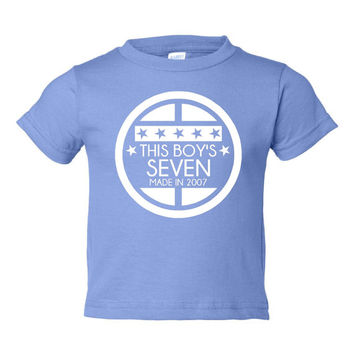 This BOY'S SEVEN Made In 2007 Happy SEVENTH Birthday Printed Graphic Fashion Tee Kids Youth Toddler Infant T Shirt Bday T Shirt Only Here