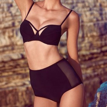Sexy Bikini Swimwear Women Swimsuits,Black High Waisted Bathing Suit