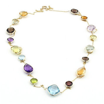 14K Gold Station Necklace With Multi Color Gemstones 36""