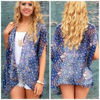 Eye Of The Storm Navy Printed Kimono