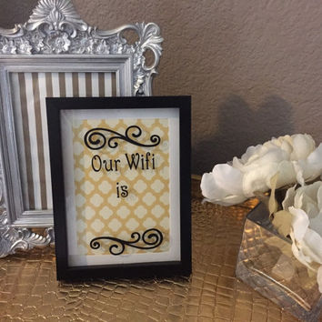 Guest room wall decor, our wifi is sign, 5 x 7 black frame sign, gallery wall art, customized background frame, framed decal wall hanging