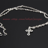 Kelly Ripa Skinny Sideways Cross Necklace, Sterling Silver, tiny cross necklace