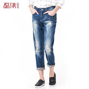 Leiji Fashion S 6XL 2017 Femme Boyfriend Blue Ripped Plus Size Women Full Length Elastic Mid Waist Vintage Skinny Pencil Jeans