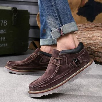 Genuine Leather Casual Vintage Velvet Thick Sole Shoes