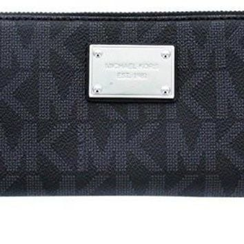 michael kors black pvc continental wallet black
