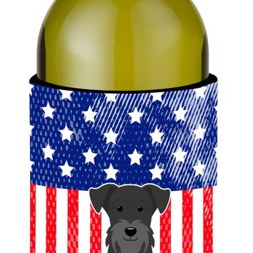 Patriotic USA Miniature Schanuzer Black Wine Bottle Beverge Insulator Hugger BB3046LITERK