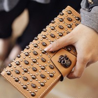fashion skull rivet ladies' cowhide long design purse women's wallet