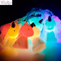 FENGRISE 10pcs 2M Unicorn Head LED String Night Light Christmas Decorations for Home Christmas Ornaments Wedding New Year Gift