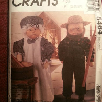 Uncut 1991 McCall's Sewing Pattern, 5464! Grandma & Grandpa Stuffed Dolls/Doll Clothes/Overalls/Dress/Apron/Hats/Doll Accessories/Home Deco