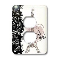 3dRose lsp_162268_6  Paris Eiffel Tower with Heart and Black Lace 2 Plug Outlet Cover