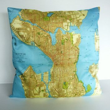 Seattle organic cotton cushion cover map atlas by mybeardedpigeon