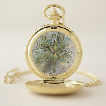 Floral Fantasy Modern Fractal Art Flower With Gold Pocket Watch