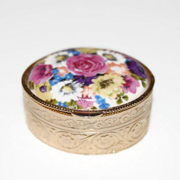 Vintage 1950's Pill Box Italy, Floral Cover