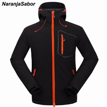 NaranjaSabor Men's Winter Fleece Heated Softshell Jackets Causual Windstopper Waterproof Hooded Male Coats Mens Brand Clothing