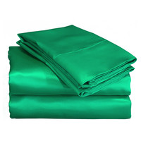 Charmeuse II Satin Emerald Green Sheet Set with Bonus Pillowcases
