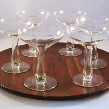 Vintage Champagne Glasses Hollow Stem Set of 4