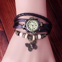Fashion Butterfly Decorative Leather Bracelet Watch