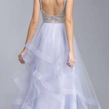 Lilac Tiered Long Prom Dress with Plunging V-Neckline