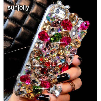 Luxury 3D Color Diamond Case Rhinestone Bling Phone Cover Crystal funda coque capa Para for iPhone 6s 6 Plus 7 Plus 5S 5 5C 4S 4