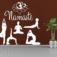 Yoga Wall Decal Meditating Vinyl Sticker Decals Namaste Lotus Flower Home Decor Bedroom Fitness Exercises Pilates Sport Decor NS1032