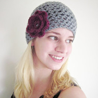 Crochet Flower Beanie Afternoon Tea Hat in Gray and Berry
