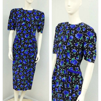 Vintage 80s Black and Colbalt Blue Silk Floral Dress, Kathryn Conover, Polka Dot Dress, Drop Waist, Puff Sleeve, Midi Dress, Size M