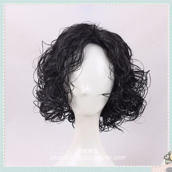 Game of Thrones Cosplay Wig Jon Snow Men Black Curly Short Synthetic Hair Adult