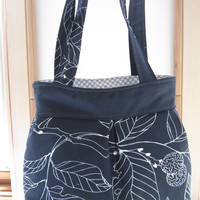 Canvas, Handbag, Purse, Ipad, Netbook, Tote, Shoulder bag ,Pleated bag, Made in USA Abstract Leaves